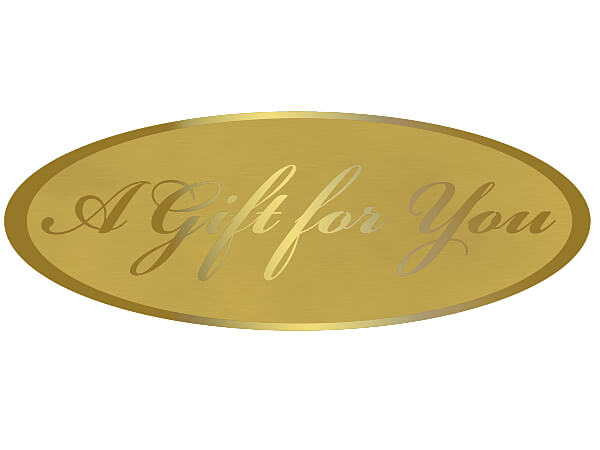 "250 A Gift For You Gold On Gold 2-1/2x15/16"" Foil Seals"