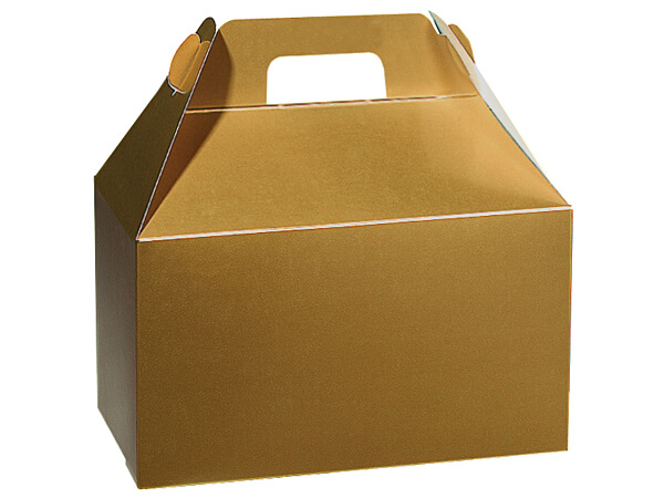 "Holiday Gold Gloss Gable Boxes, 8-1/2x4-3/4x5-1/2"", Pack 6"