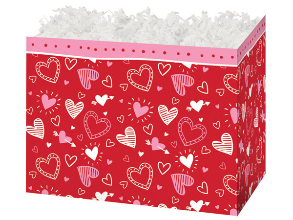 "Happy Hearts Basket Boxes, Large 10.25x6x7.5"", 6 Pack"