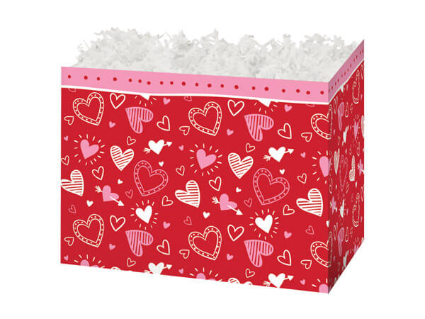 "Happy Hearts Basket Boxes, Small 6.75x4x5"", 6 Pack"