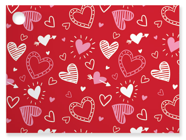 "Happy Hearts Theme Gift Cards, 3.75x2.75"", 6 Pack"