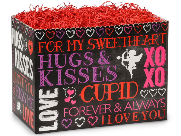 Large Hugs And Kisses Chalkboard Basket Boxes 10-1/4x6x7-1/2""