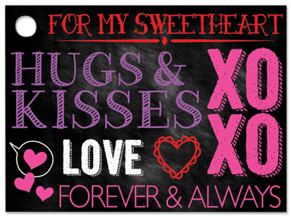 Hugs And Kisses Chalkboard Theme Gift Cards 3-3/4 X 2-3/4""
