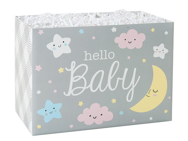 "Hello Baby Basket Boxes, Large 10.25x6x7.5"", 6 Pack"