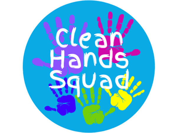 "Clean Hands Squad,  Hygiene Gloss Label, 2"" Circle, 100 Pack"