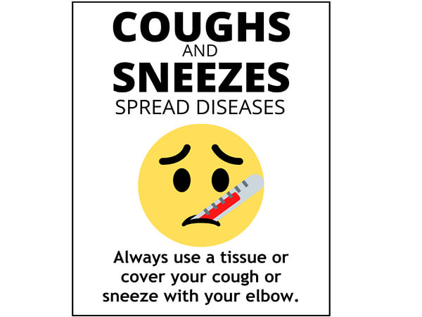 "Cough and Sneezes, Hygiene Vinyl Label, 5x7"", 25 Pack"