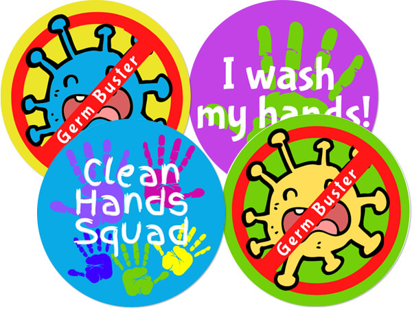 "Germ Busters 4 Designs,  Hygiene Gloss Label, 2"" Circle, 100 Pack"
