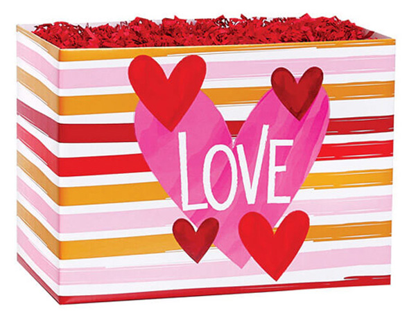 """Hello Love Basket Boxes, Large 10.25x6x7.5"""", 6 Pack"""