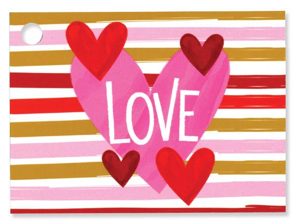 "Hello Love Theme Gift Card, 3.75x2.75"", 6 Pack"