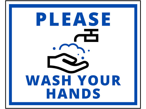 "Wash Your Hands, Hygiene Vinyl Label, 8x10"", 25 Pack"