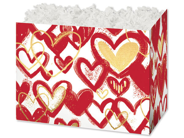 """*Large Heart Of Gold Basket Boxes 10-1/4 x 6 x 7-1/2"""""""