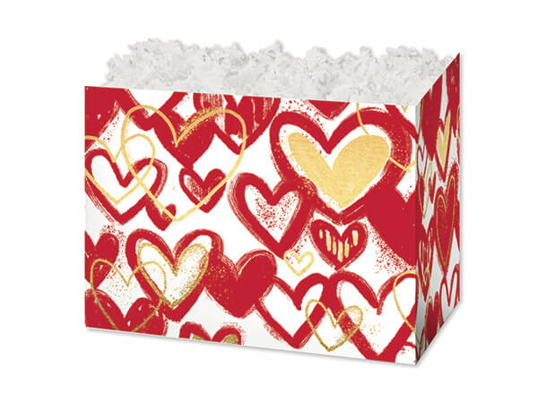 """Small Heart Of Gold Basket Boxes 6-3/4 x 4 x 5"""""""
