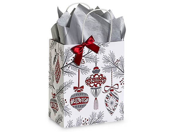 "Heirloom Ornaments Paper Shopping Bag, Cub 8x4.75x10.25"", 25 Pack"