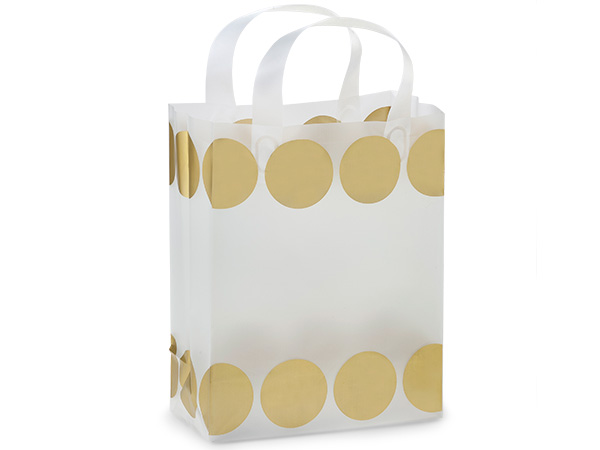 "Metallic Gold Hip Dots Plastic Gift Bags, Cub 8x4x10"", 250 Pack"