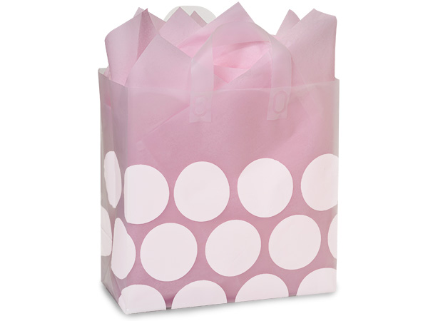 "White Hip Dots Plastic Gift Bags, Bags, Market 12x6x12"", 250 Pack"