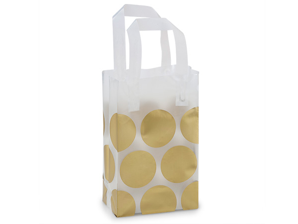 "Metallic Gold Hip Dots Plastic Gift Bags, Rose 5.25x3.25x8.5"", 250 Pac"