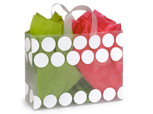 "White Hip Dots Plastic Gift Bags, Vogue 16x6x12"", 250 Pack"