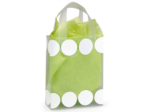 "White Hip Dots Plastic Gift Bags, Bags, Cub 8x4x10"", 25 Pack"