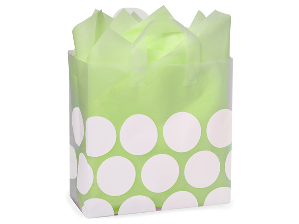 "White Hip Dots Plastic Gift Bags, Bags, Market 12x6x12"", 25 Pack"