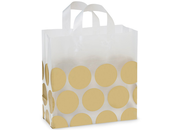 "Metallic Gold Hip Dots Plastic Gift Bags, Market 12x6x12"", 25 Pack"