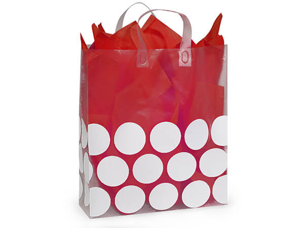 "White Hip Dots Plastic Gift Bags, Queen 16x6x18"", 25 Pack"
