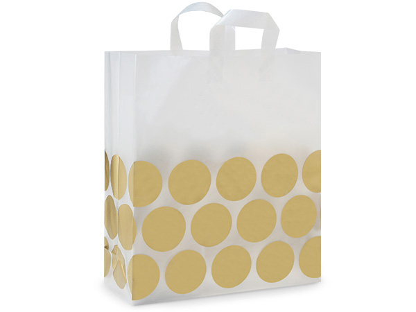 "Metallic Gold Hip Dots Plastic Gift Bags, Queen 16x6x18"", 25 Pack"