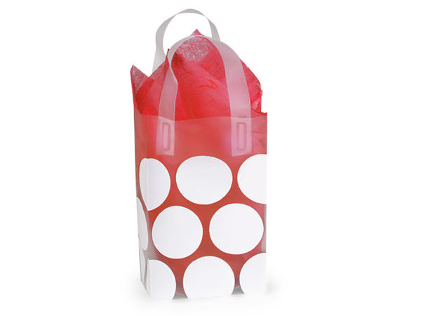 "White Hip Dots Plastic Gift Bags, Rose 5.25x3.25x8.5"", 25 Pack"
