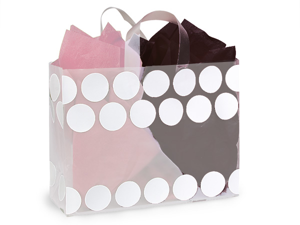 "White Hip Dots Plastic Gift Bags, Vogue 16x6x12"", 25 Pack"