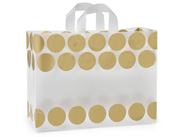"Metallic Gold Hip Dots Plastic Gift Bags, Vogue 16x6x12"", 25 Pack"