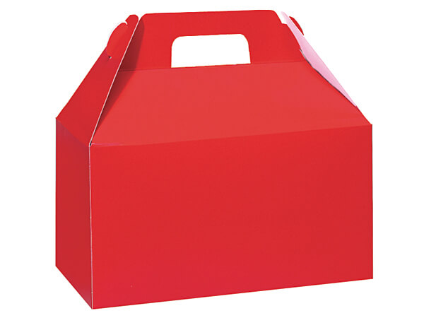 "Hot Red Gloss Gable Boxes, 8-1/2x4-3/4x5-1/2"", Pack 6"