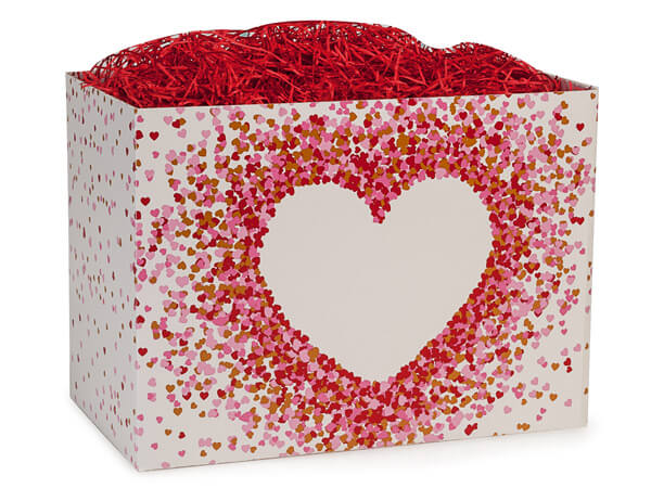 "Large Heart Shaped Confetti Basket Box 10 1/4"" x 6"" x 7 1/2"""