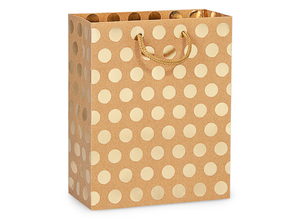 "Gold Polka Dots on Kraft Gift Bags, Cub 8x4x10"", 10 Pack"