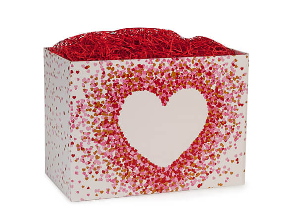 """Heart Shaped Confetti Basket Boxes, Small 6.75x4x5"""", 6 Pack"""