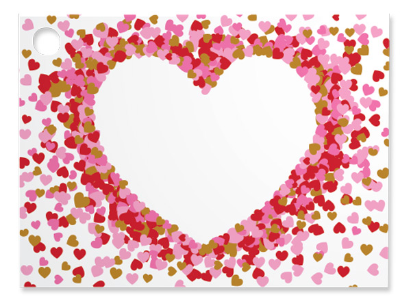 Heart Shaped Confetti Theme Gift Cards 3-3/4x2-3/4""