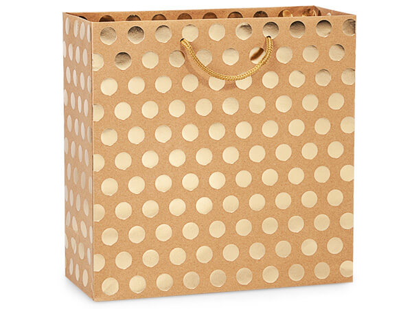 "Gold Polka Dots on Kraft Gift Bags, Filly 12x5x12"", 10 Pack"