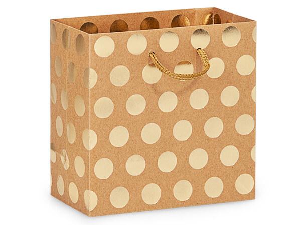 "Gold Polka Dots on Kraft Gift Bags, Jewel 6.5x3.5x6.5"", 100 Pack"