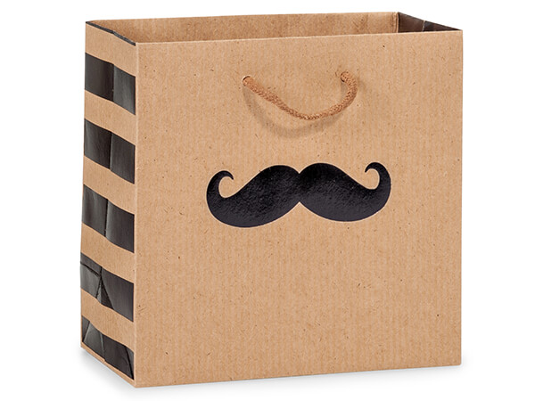 "*Black Mustache Gift Bags, Jewel 6.5x3.5x6.5"", 10 Pack"