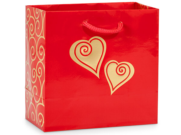 "Gold Scroll Heart Gift Bags, Jewel 6.5x3.5x6.5"", 10 Pack"