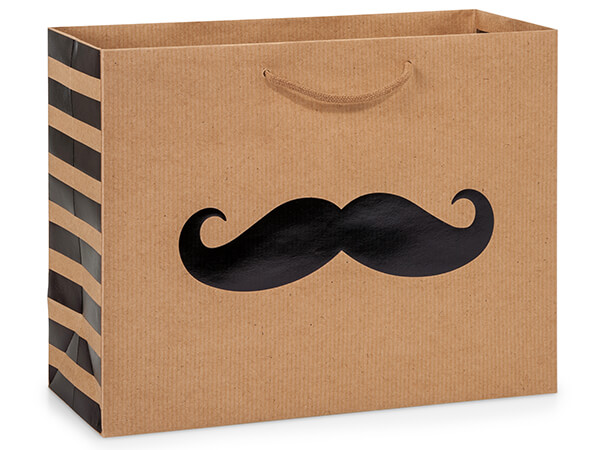 "Black Mustache Gift Bags, Medium 13x5x10"", 10 Pack"