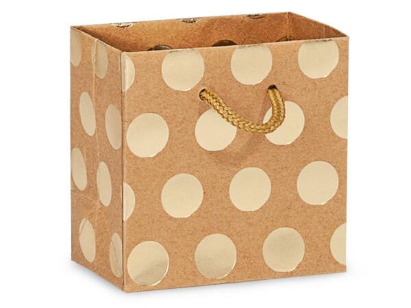 "Gold Polka Dots on Kraft Gift Bags, Petite 4x2.5x4"", 10 Pack"