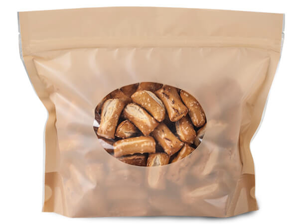 "**8-1/2x6-1/2x2-1/2"" Almond Stand U Zipper Top 2.5 mil Bags"