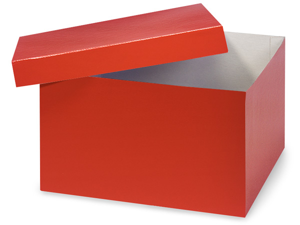 "Red Hi-wall 10x10x6"" 100% Recycled Giftware Box Base"