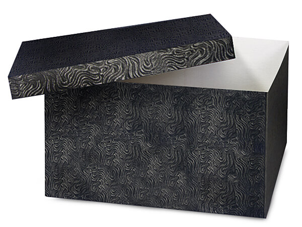 "Black Swirl Hi-wall 12x12x6"" 100% Recycled Giftware Box Base"
