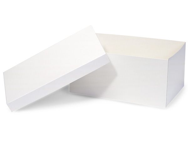 "White Hi-wall 13x8x6"" Semi-Gloss Giftware Box Base"