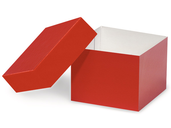 "Red Hi-wall 4x4x3"" 100% Recycled Giftware Box Base"