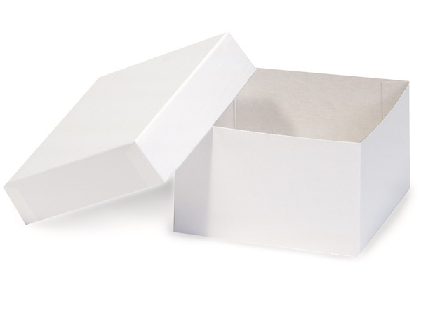 "White Hi-wall 5x5x3"" Semi-Gloss Giftware Box Base"