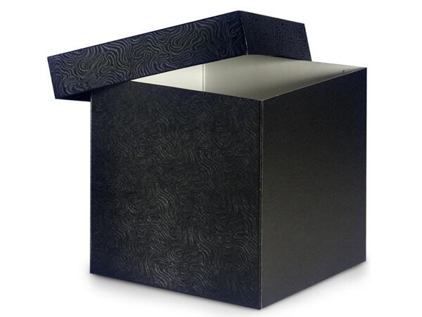 "Black Swirl Hi-wall 6x6x6"" 100% Recycled Giftware Box Base"