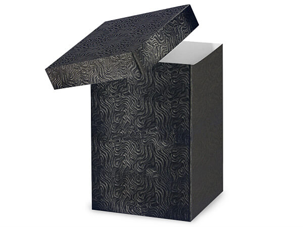 "Black Swirl Hi-wall 6x6x9"" 100% Recycled Giftware Box Base"