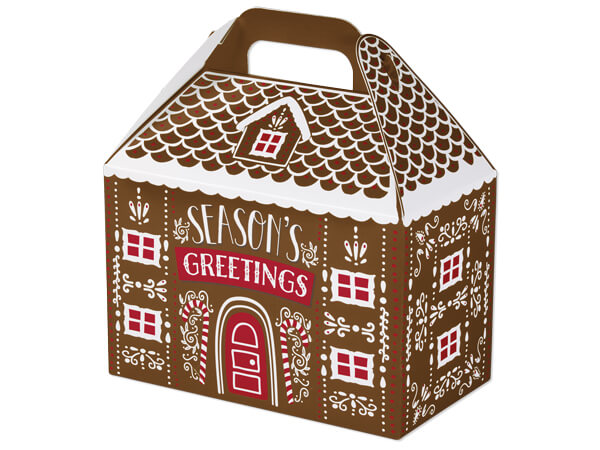 Iced Gingerbread House Gable Boxes 8-1/2 x 4-3/4 x 5-1/2""