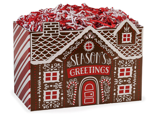"""Iced Gingerbread House Basket Boxes, Large 10.25x6x7.5"""", 6 Pack"""